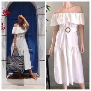 Topshop Ruffle Bardot Midi Dress Ivory Size 4 NWOT